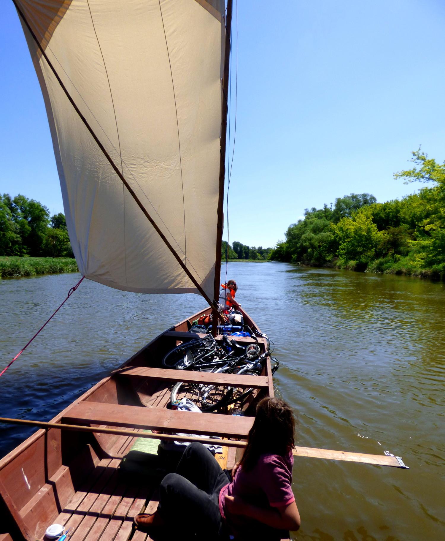 Widok od strony sternika na drewniana tradycyjną łódź wiślaną pod żaglem podczas przepływania odnogą Wisły dookoła Kępy Zielonej koło Ciechocinka. Brzegi rzeki są intensywanie zielone.